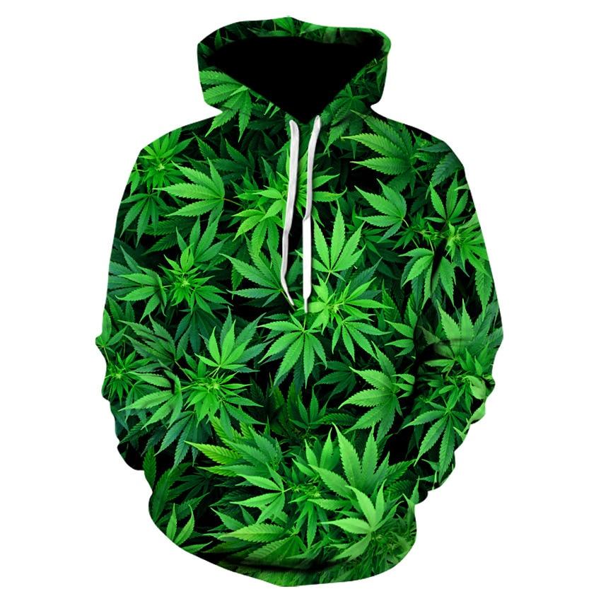 Clothes 2019 Autumn Sweatshirt Printed Green Leaf Hoodies Men Harajuku Casual Funny Hoodie Tops High Quality Drop Shipped SA-8