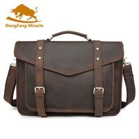 Brand Vintage Crazy Horse Leather Handbag New Men Briefcase Travel Business Brown Small Ipad Casual Shoulder CrossBody Bags