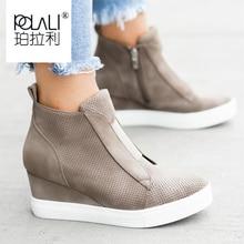 Botas de mujer de talla grande 34 43, botines de punta redonda a la moda, botas de invierno de señora con cremallera, zapatos de mujer, zapatillas azules color negro y marrón