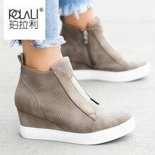 Kadın botları artı boyutu 34 43 moda yuvarlak ayak yarım çizmeler Zip bayanlar kış botu kadın ayakkabı siyah kahverengi mavi Sneakers kadın