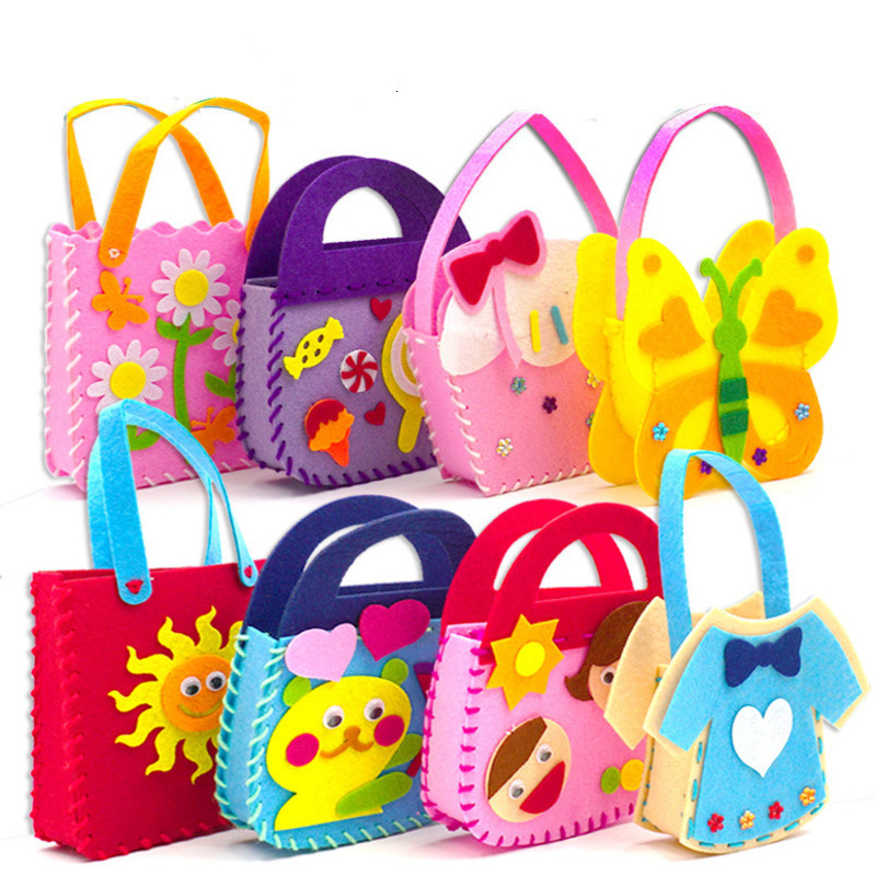 Cartoon DIY Handbag Non-Woven Fabric Handicraft Toys For Children Handmade Colorful Animal Cloth Mini Bag Sewing Toy Girl Gift