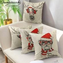 Рождественские наволочки fuwatacchi с животными льняные для