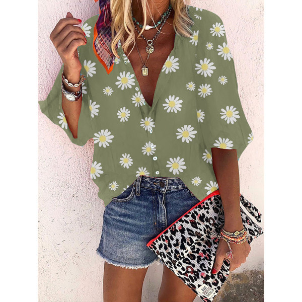 Sexy Deep V-Neck Daisy Printed Women's Shirts Single Breasted Long Sleeves Tops Female 2020 Spring New Loose Casual Lady Clothes