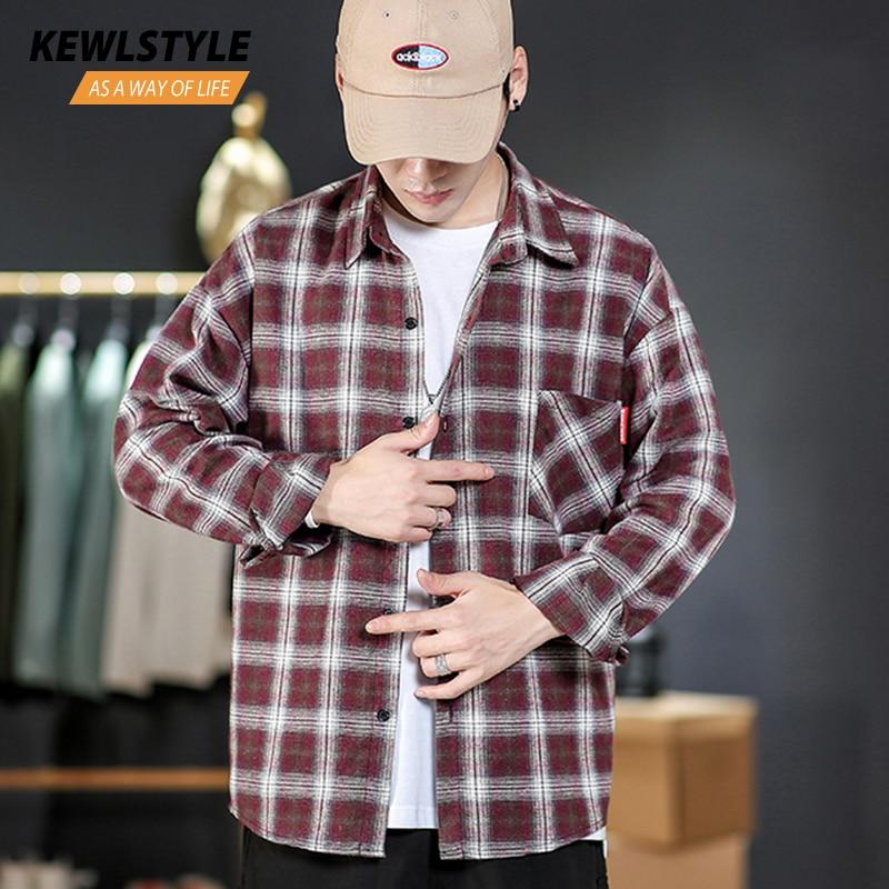 Shirts Men Dress 5xl Long Sleeve Plaid Shirt Streetwear Korean Style Fashion Clothes Autumn Casual Hip Hop Male Clothing CS68