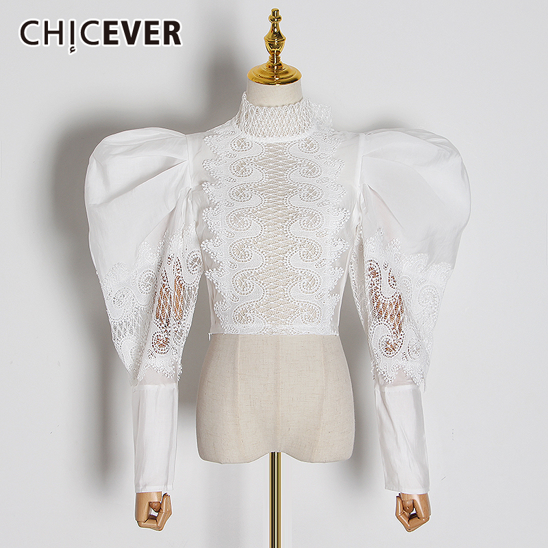 CHICEVER White Patchwork Lace Women's Shirt Turtleneck Puff Long Sleeve High Street Blouse Female Spring Fashion New 2020 Cothes