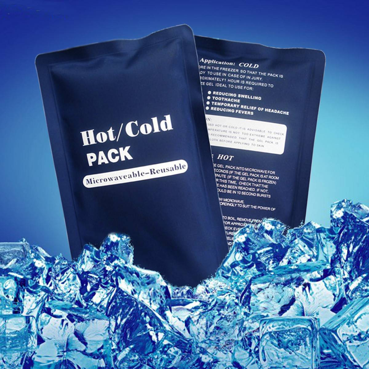 1Pc 23x13cm Reusable Heat Cool Hot Cold Packs Ice Bag Cool Bag Warm Pack Sports Muscle Back Pain Relief New