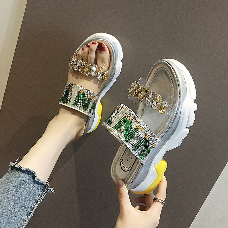Lucyever New Summer Sandals Fashion Crystal Flat Heels Shoes Slingback Ladies Platform Shoes Woman Rhinestoe Beach Slides 2020