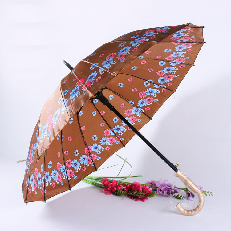Manufacturers Currently Available Wholesale 55 Centimeters 16 Bone K Automatic Flower Satin Straight Pole Long Handle Umbrella