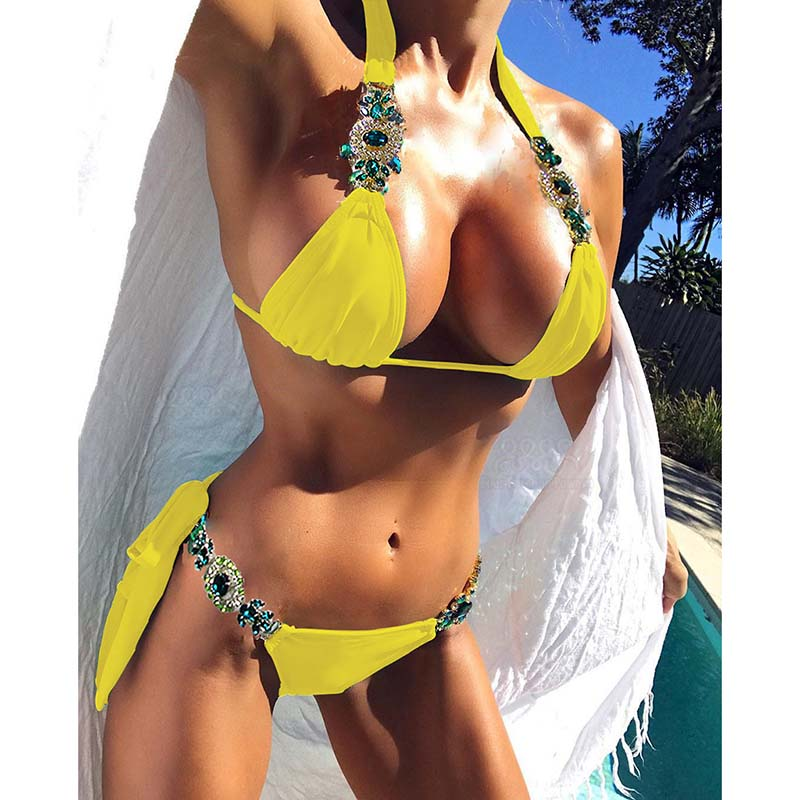 Halter Diamond Swimsuit Bikini Braizilian Swimwear Female Strappy Swimsuit Women Crystal Bikini Set Push Up Bathing Suit