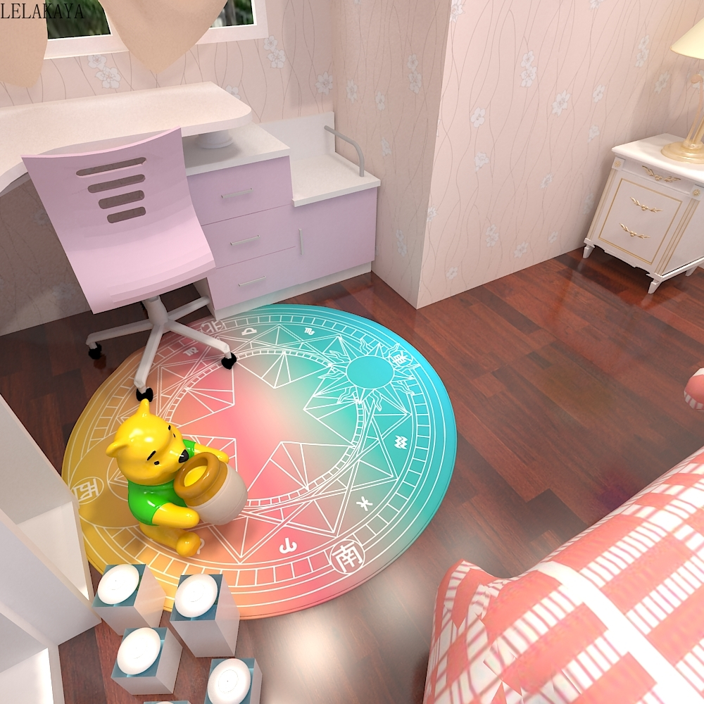 60-140cm Anime Card Captor Sakura Kinomoto Magic Circle Home Round Carpet Fashion Baby Cartoon Play Mat Waterproof Kitchen Rugs