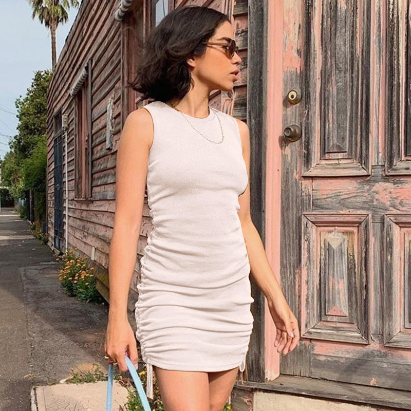 WannaThis Sleeveless Short Dresses Women Drawstring O-Neck Slim Elastic Ruched Off Shoulder Mini Casual Summer Party Dress Solid 4