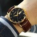 Двойной автоматический механический календарь часы простые водонепроницаемые часы для мужчин с настоящим кожаным ремешком или стальным р...