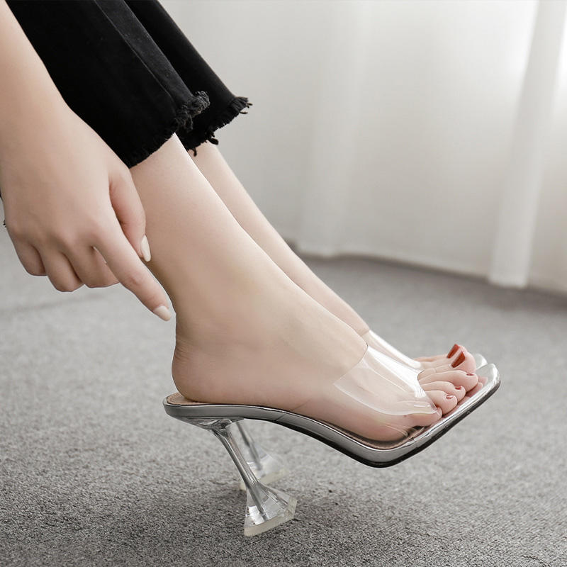 Women Sexy Sandals High Heels Shoes Ladies Fashion Slippers Plus Size Square Toe Transparent Pumps New Female Summer Comfort 2