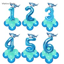 Twins 1 2 3 Baby Shark Birthday Party Decorations Boxing Latex Balloon Frist Theme Animal Decor