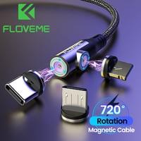 FLOVEME-Cable magnético USB tipo C de 360 grados, Cable de carga rápida para iPhone 12 11, Cable Micro USB para Xiaomi y Samsung