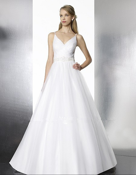 Free Shipping 2015 New Hot Sexy Subtle Features Vestido De Noiva V-neck Beaded Crystal Strap A-line Wedding Dress Bridal Gown