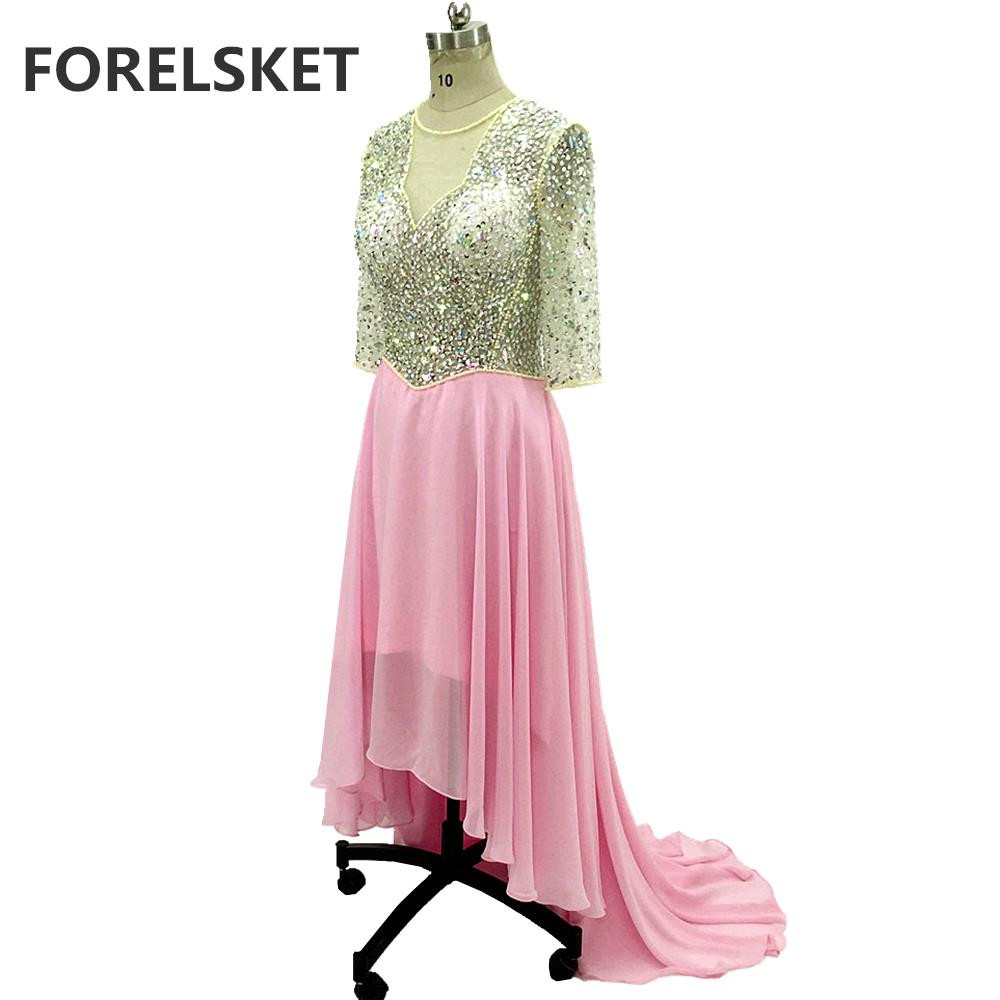 High -Low Crystal Beading Chiffon Prom Dresses Pink 2020 Illusion Half Sleeves Sequined Evening Party Gown Short Front Long Back