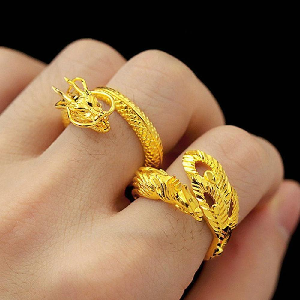 exaggerated Dragon Ring Fashion Open adjustable Men's Rings domineering single ring male and female personality image