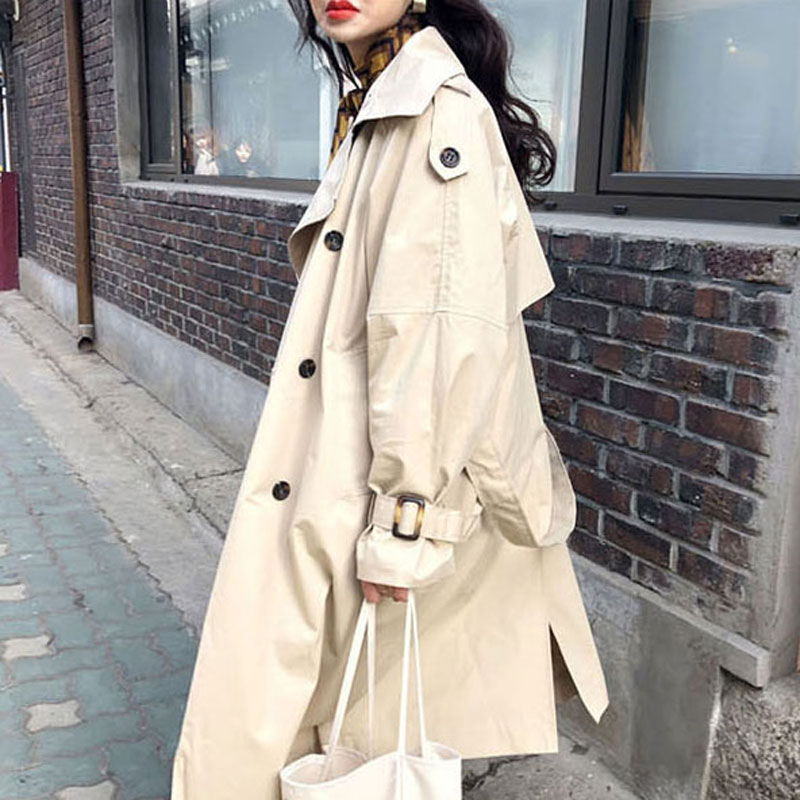 Spring Autumn 2019 Korean Double Breasted Mid-long   Trench   Coat Mujer Loose Belt large Size Windbreak Outwear Fashion Casual