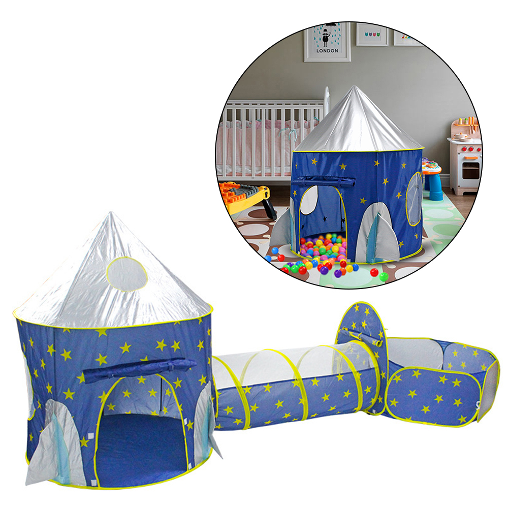 3 IN 1 Portable Children's Tent Rocket Spaceship Kids Tent With A Tunnel Folding Dry Pool Tipi Indoor Game House For Kids Tents