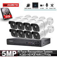 Gesicht Erkennung Erfassen POE 5MP Video Überwachung Kit 8CH NVR CCTV System 5 megapixel Wetter CCTV Sicherheit POE IP Kamera