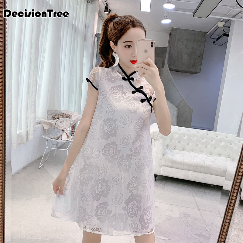 2020 Plus Women Evening Party Dress Gown Elegant Sleeveless Qipao Lace Cheongsam Chinese White Embroidery Wedding Dresses