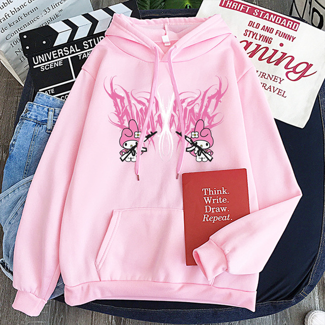 New mymelody dark women's hooded long-sleeved trendy gothic style plus cashmere winter Harajuku style hooded sweatshirt 2