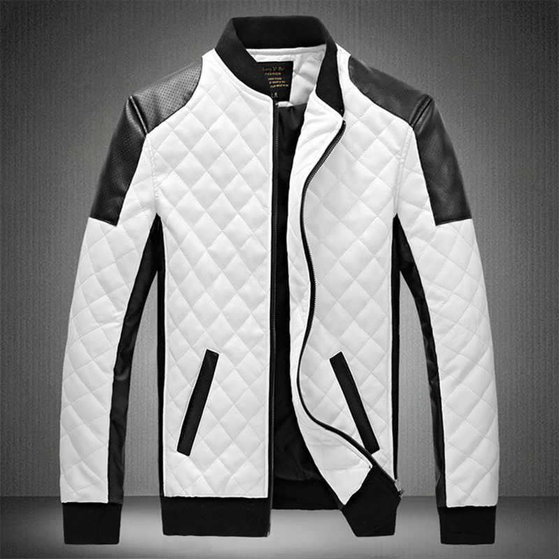 Zipper Leather Jacket Men Winter Thick Patchwork Motorcycle Bike PU Bomber Jacket Male Hip Hop Streetwear Overcoats Veste Homme