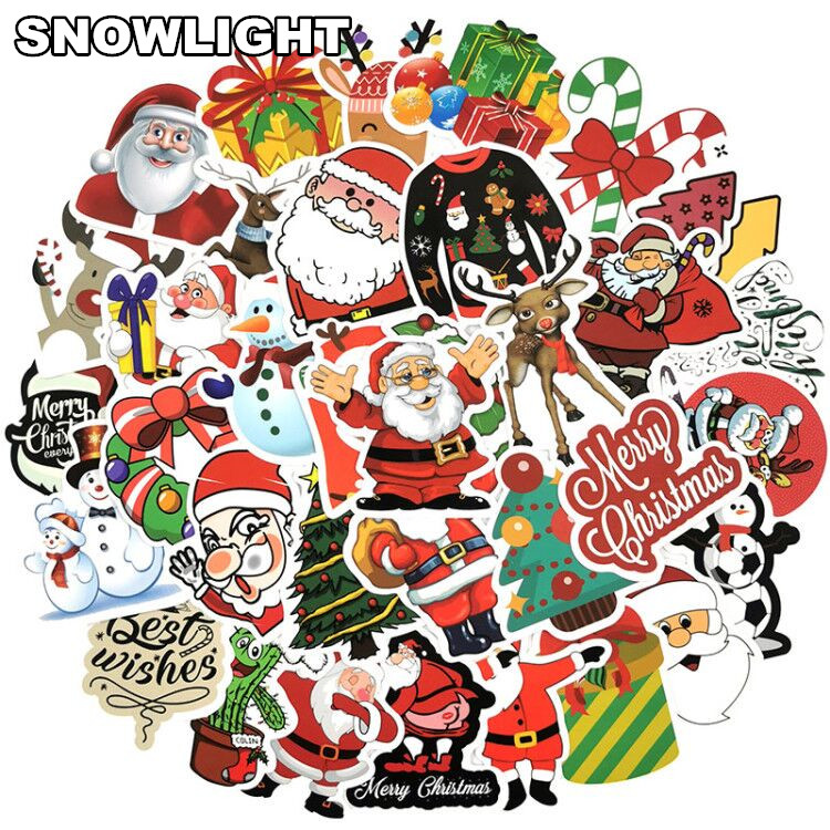 50PCS Merry Christmas Santa Claus Snowman Cartoon Stickers For Suitcase Luggage Guitar Laptop Children Toys Sticker For Kids