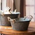 Basin American Countryside Vintage Style Round Galvanized Herb Planter With Hemp Rope Handle Storage Basket