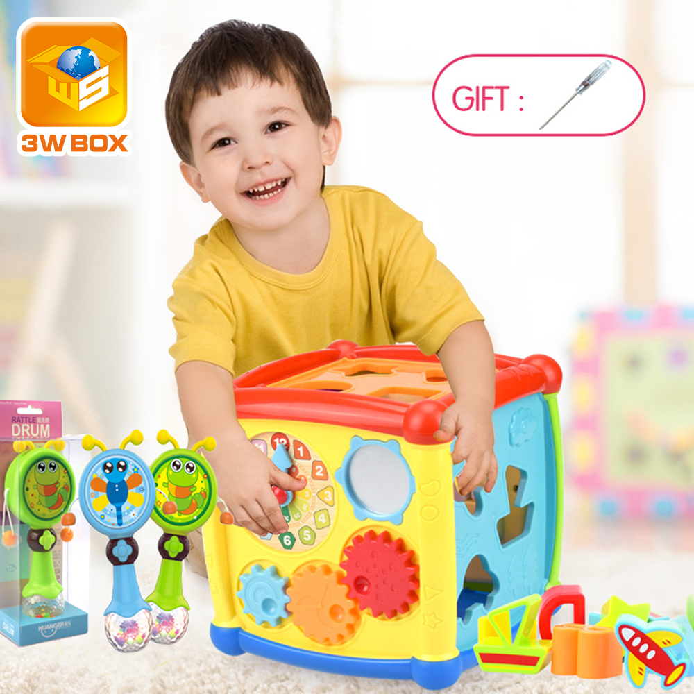 3WBOX Multifunctional Musical Toys Toddler Baby Box Music Activity Cube Gear Clock Geometric Blocks Sorting Educational Toys