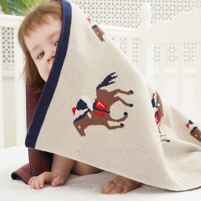 Baby Blankets Knitted Cotton Super Soft Newborn Swaddle Wrap Cute Cartoon Pattern Toddler Infant Stroller Bedding Cover 110*90cm