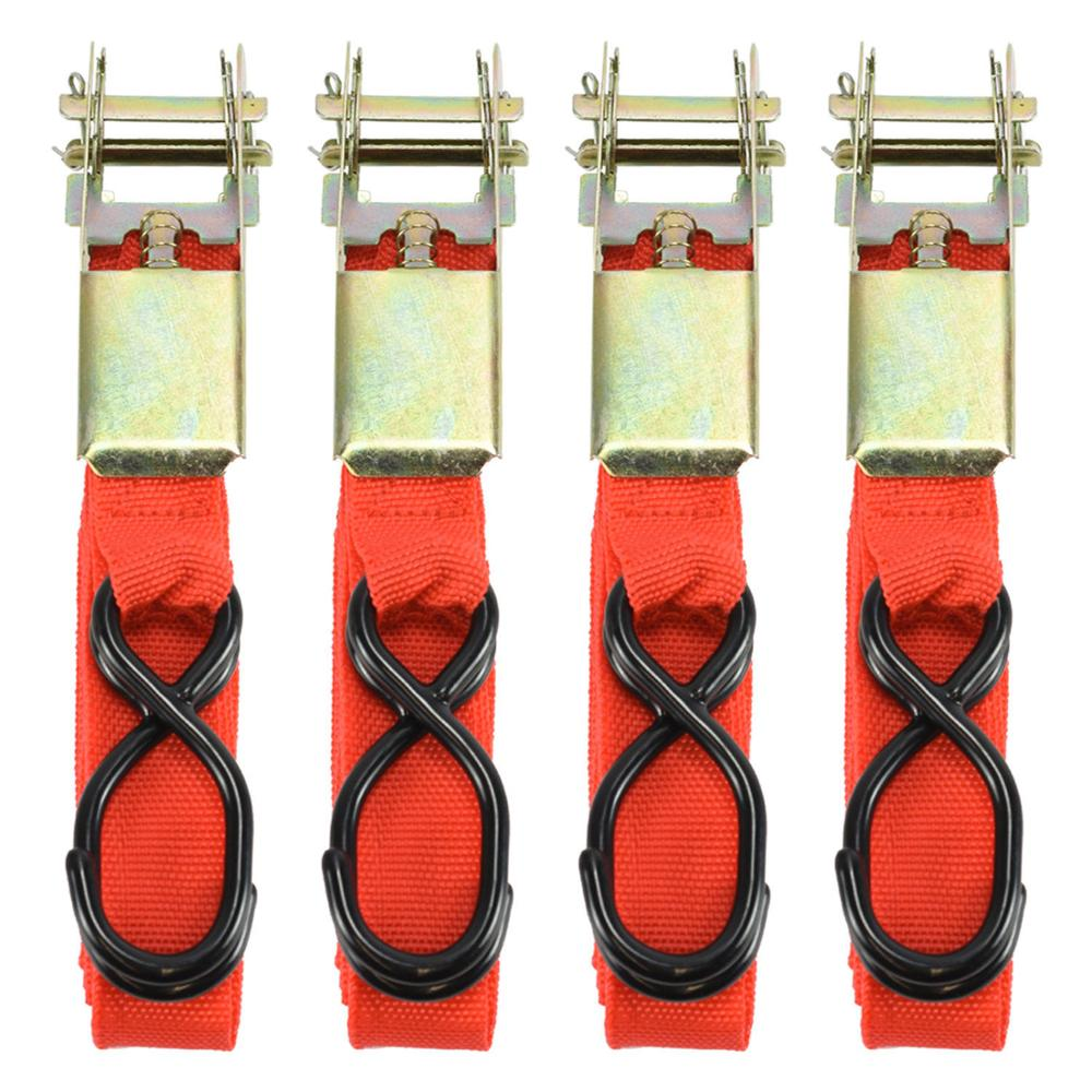 4PCS 15*0.9inch Car Luggage Cargo  Alloy Buck Tape Strap Ratchet Tie Down Cargo Straps Webbing Hold Secure Ratchet Belt XNC