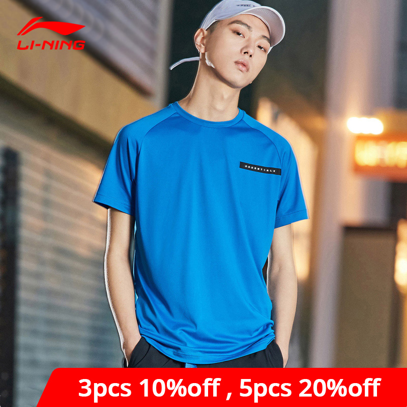 Li-Ning Men Training Series Short Sleeve Top AT DRY Breathable Polyester LiNing Li Ning Sport Tee T-shirts ATSP065 MTS3076