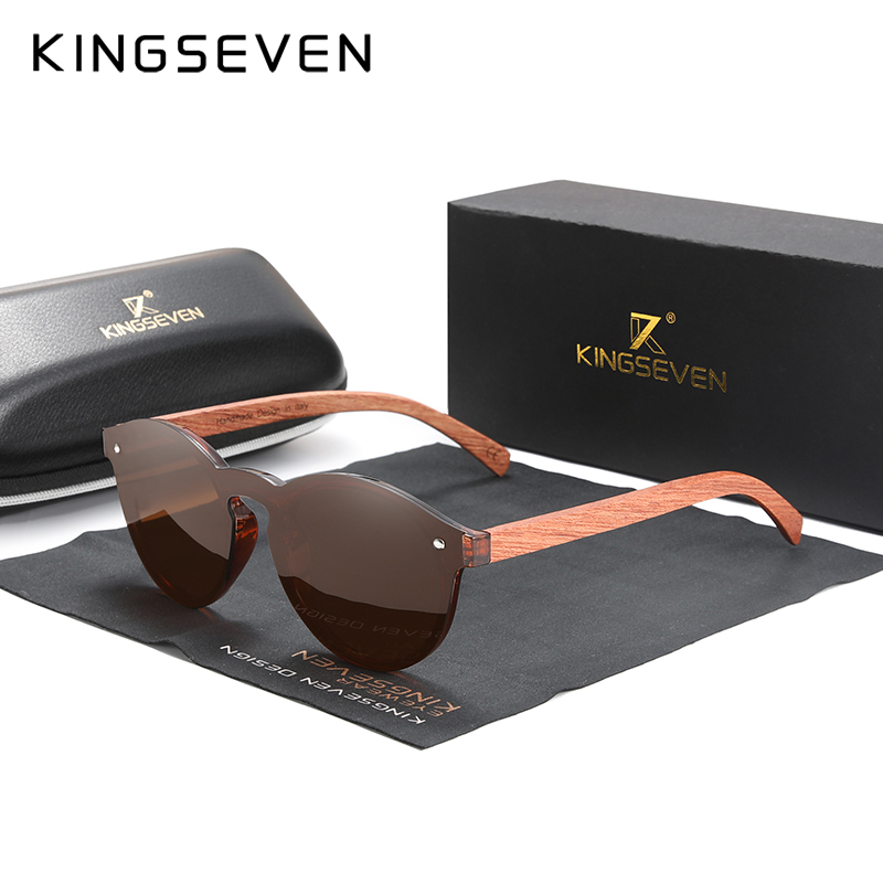 Custom LOGO Natural Wooden Sunglasses KINGSEVEN Bubinga Men's Polarized Glasses Wooden Fashion Sun Glasses Original Accessories 8