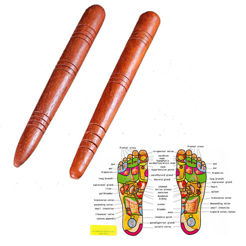 Image 2 - Wooden Foot Spa Physiotherapy Reflexology Thai Foot Massage Health Chart Free Massage Stick Tool Free Ship Hot-in Massage & Relaxation from Beauty & Health