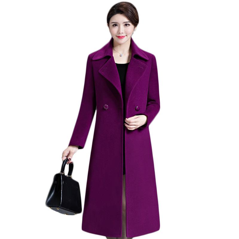 Woolen coat women violet M-5XL plus size 2020 autumn winter new Korean fashion mid-aged female long wool jackets send belt LD379