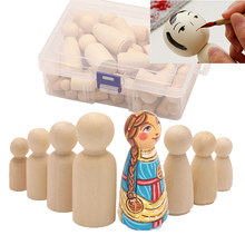 50 pçs 35mm/43mm/55mm/65mm inacabado de madeira diy pintura a cores peg bonecas masculino & feminino boneca corpos decorações