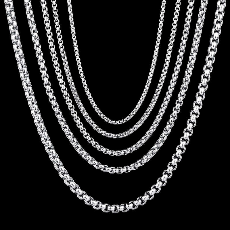 ELSEMODE 2mm/2.5mm/3mm  Gold Black Stainless Steel Round Box Chain Necklace for Men Women Waterproof Wholesale
