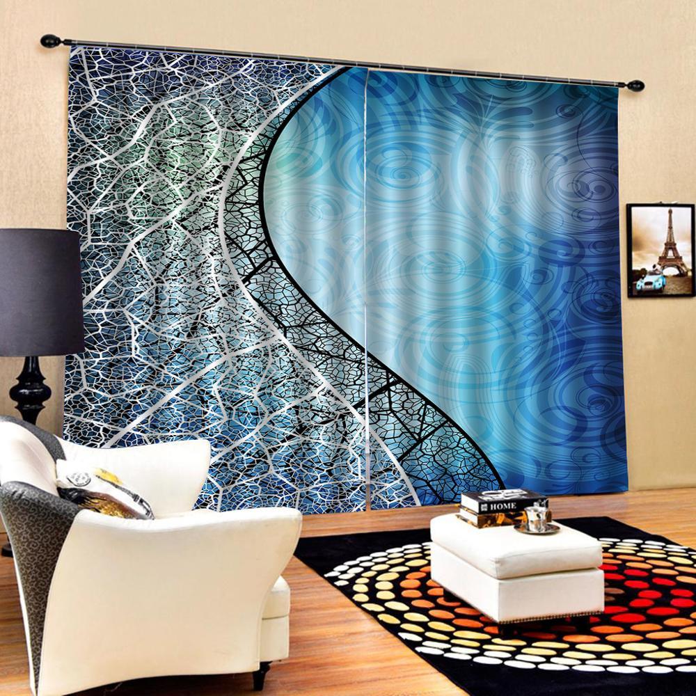 personality curtains Modern Home Decoration Living Room 3D Curtain Luxury Blackout Window Curtain Living Room blue curtains