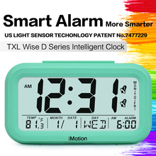 Large LCD Display Snooze Kids Clock Light Sensor Nightlight Office Table Clock Digital Alarm Clock Student Clock