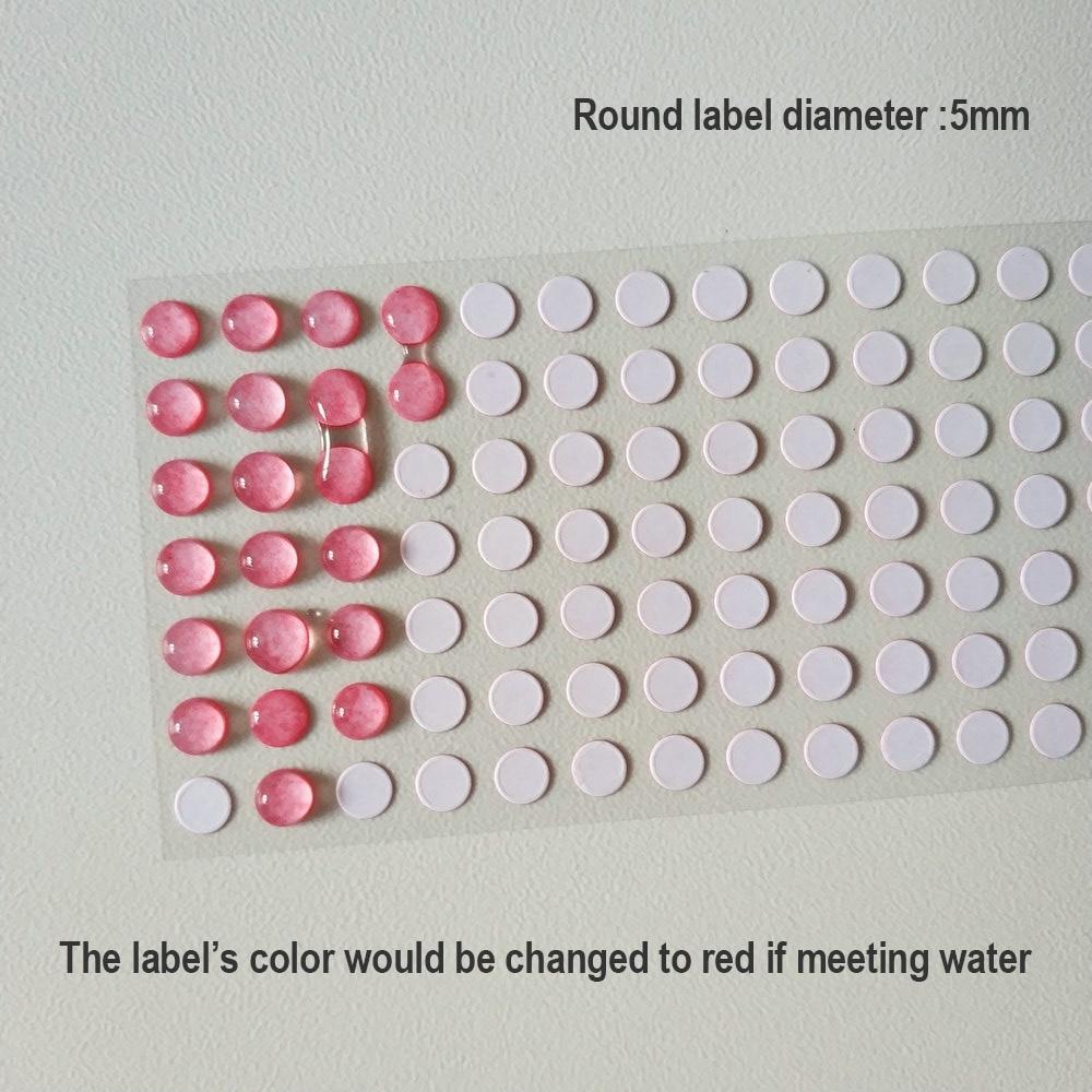 300 штук диаметр 5 мм Вода поврежденная чувствительный индикаторная табличка удовлетворить воды Цвет изменение Стикеры для телефона гаранти...