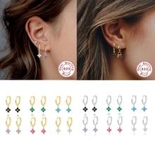 925 Sterling Silver Bling Colorful Zircon Loop Earring For Lovers' Valentine's Day Gift Woman Hoop Earrings Pendientes orecchini