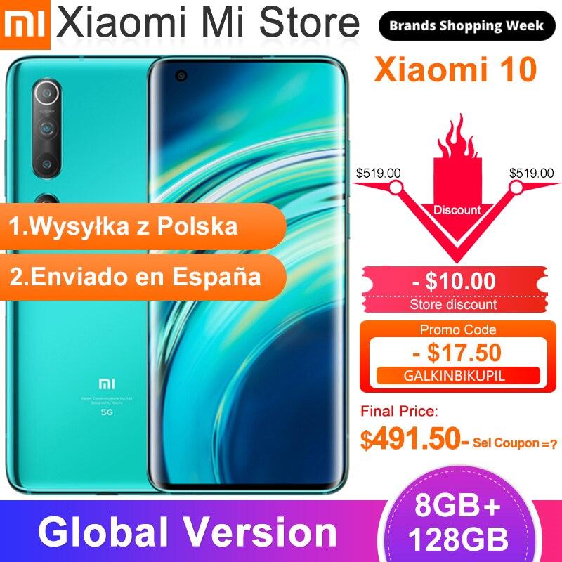 """Глобальная версия Xiaomi Mi 10 8 ГБ 128 5G Snapdragon 865 LPDDR 5 108MP Quad Camera 6,67 """"AMOLED жидкости экран UFS3.0 Wi Fi 6 Смартфоны      АлиЭкспресс"""