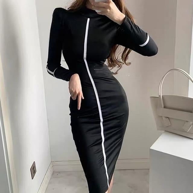Small high necked long sleeved Kardashian Dress High Waisted 5