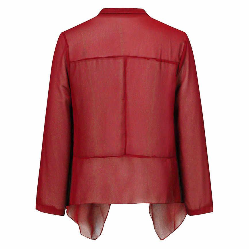 Văn Phòng Nữ Thanh Lịch Outwears Nữ Mở Đèn Trước Cardigan 3/4 Thun Voan Áo Slim Thun Lạnh Thoáng Mát Nữ Rời Áo