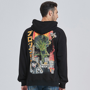 Image 5 - 2020 Men Hip Hop Hoodie Sweatshirt Monster Attack Japanese Harajuku Hoodie Streetwear Funny Autumn Cotton Hooded Pullover Black