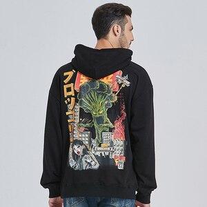 Image 5 - Sweat à capuche pour hommes, style Hip Hop, attaque de monstre, style japonais Harajuku, Streetwear, amusant, en coton, automne, collection 2020