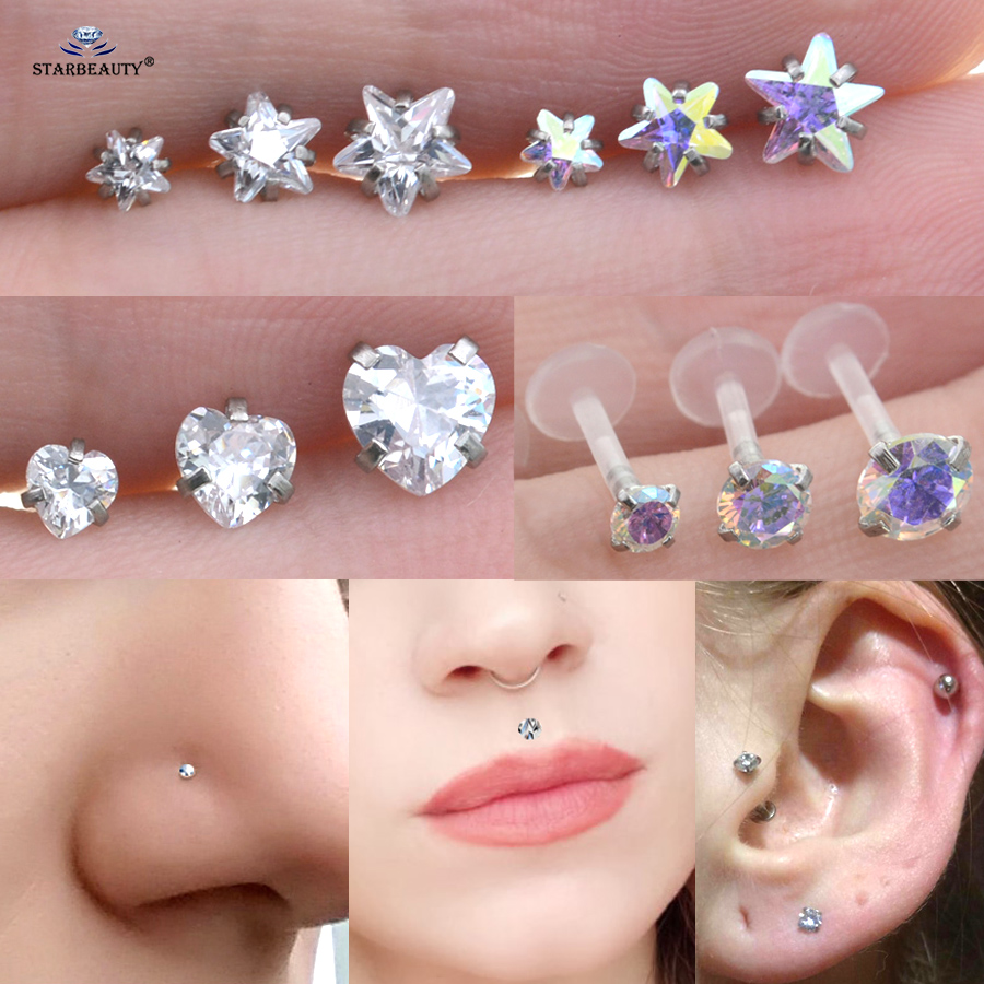 2pcs Top Crystal 3/4/5mm Heart Star Round Helix Tragus Piercing Oreja Nose Piercing Nariz Labret Lip Ring Nose Ring Earring Gift