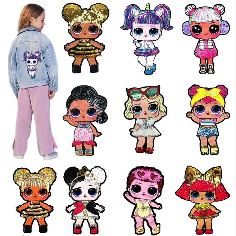 Cartoon Doll Sequin Patches Cute Sew On DIY Hoodie Clothes LOLS  Stickers High Quality Child Popular Jacket Surprised Girl Toy
